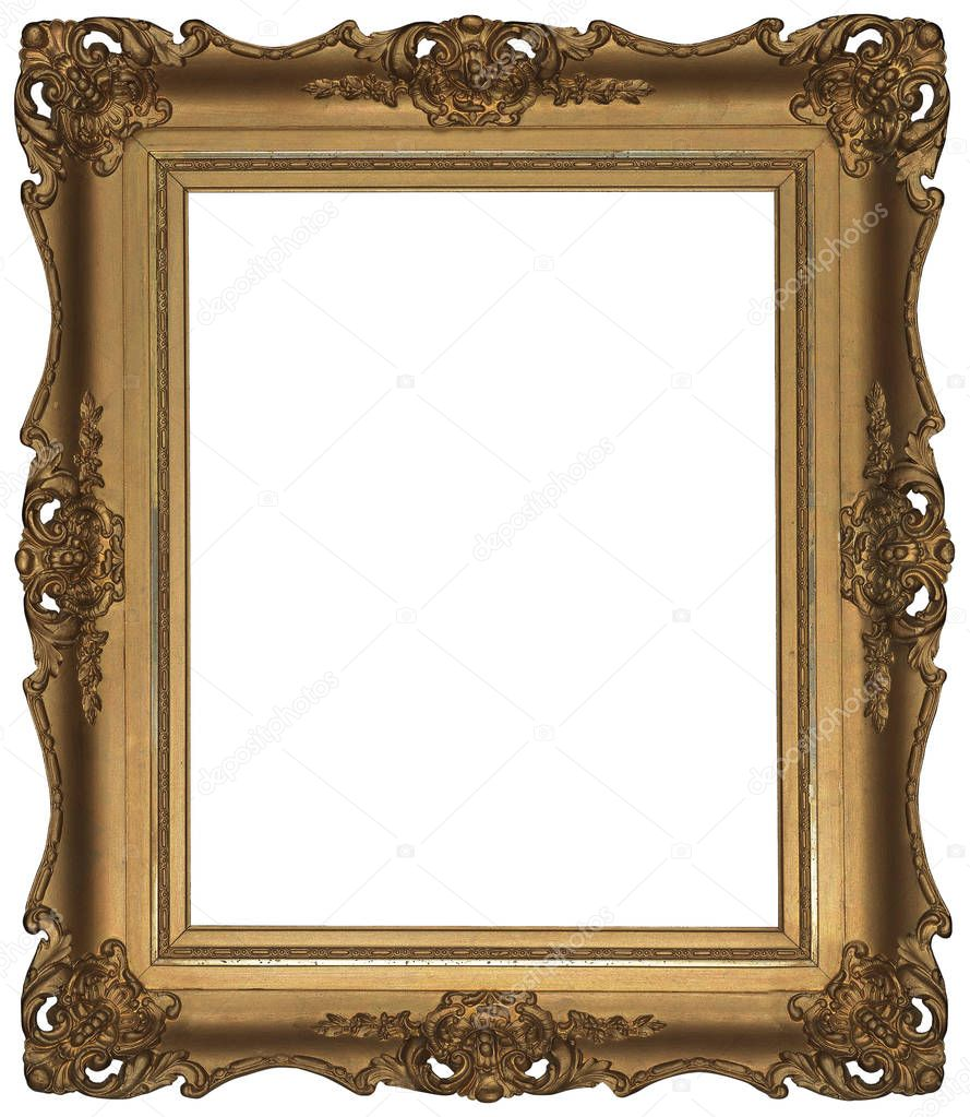 Antique Classic Golden Frame isolated on white background. — Stock ...