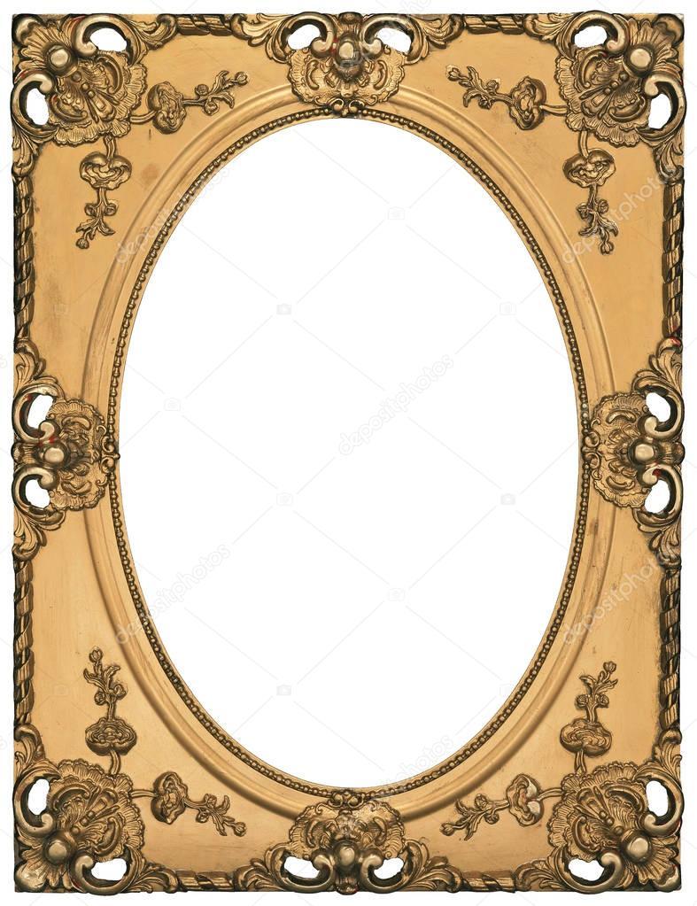 Antiguo marco dorado clásico con agujero oval aislado sobre fondo ...