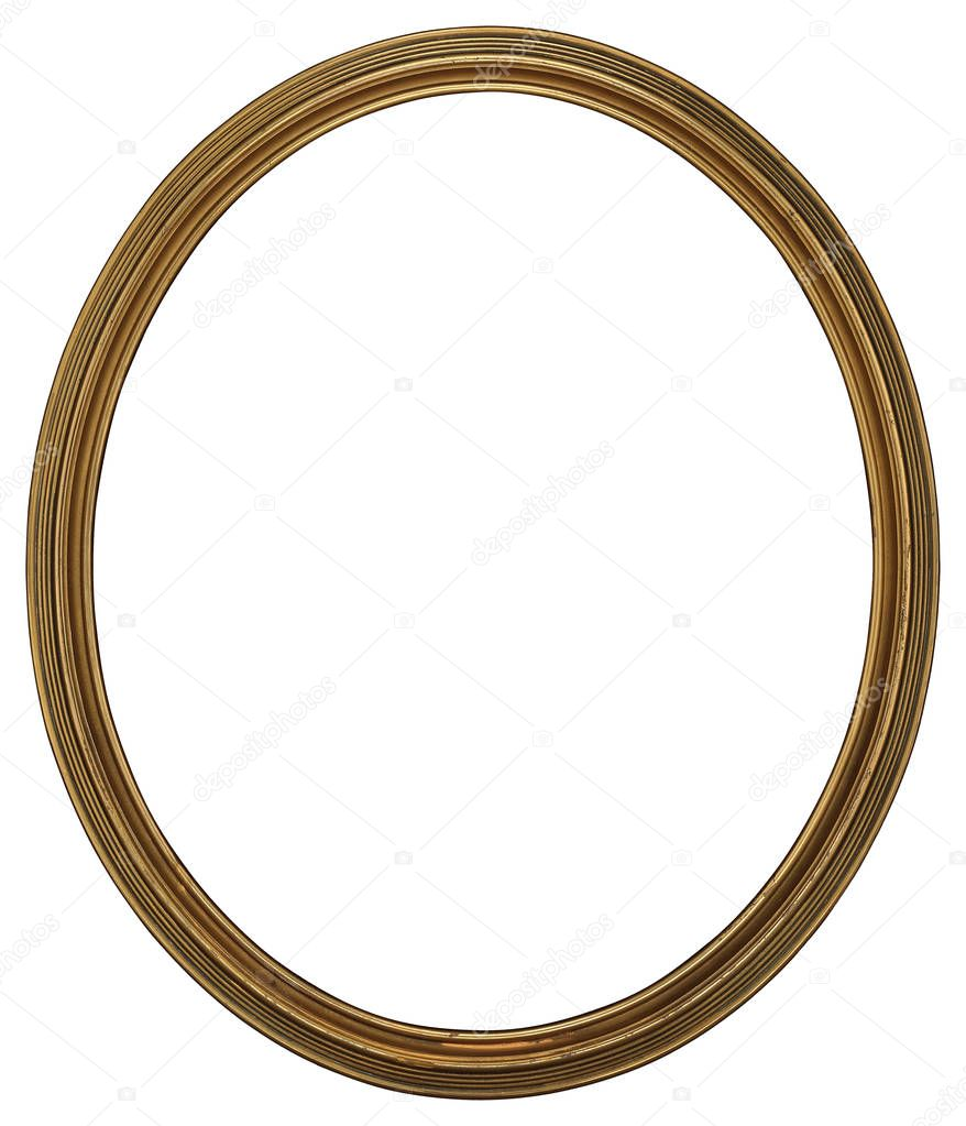Antique Classic Golden Oval Frame isolated on white background ...