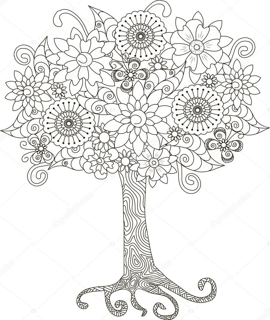 Boyama Kitabı Anti Stres Vektör çizim Için çiçek Açan Ağaç Stok