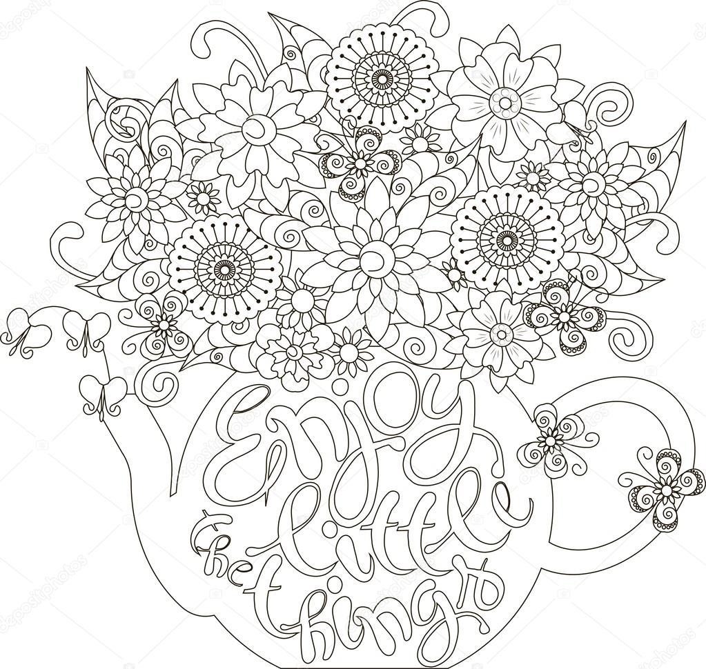 Yazı Küçük şeyler Bir çaydanlık Sayfa Anti Stres Vektör çizim