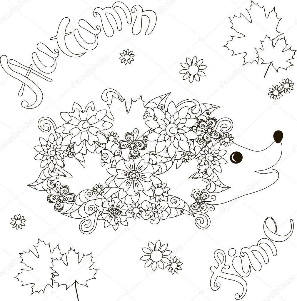 Sonbahar Zaman Boyama Sayfası Anti Stres Vektör çizim çiçek Kirpi