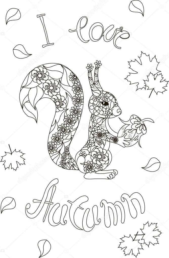 Coloriage Anti Stress Automne.Lettrage J Aime L Automne Ecureuil Floral Illustration