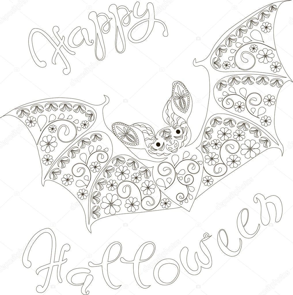 Kleurplaten Halloween Vleermuizen.Happy Halloween Floral Vleermuis Kleurplaten Pagina Antistress