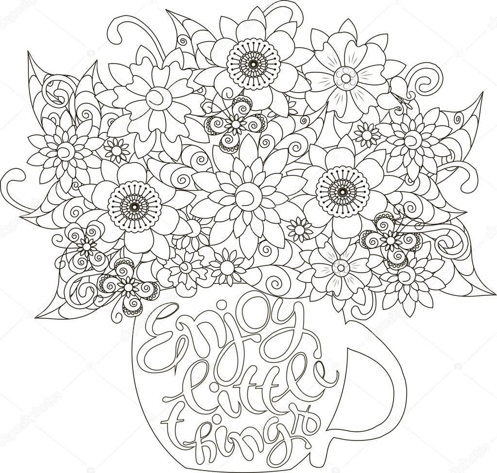 Letras de disfrutar pequeñas cosas, ramo de flores en una taza para ...