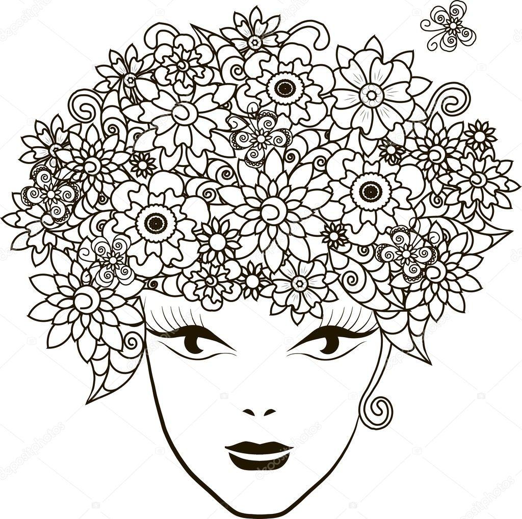 çiçekler Saçlı Kız Boyama Sayfa Anti Stres Vektör çizim Stok