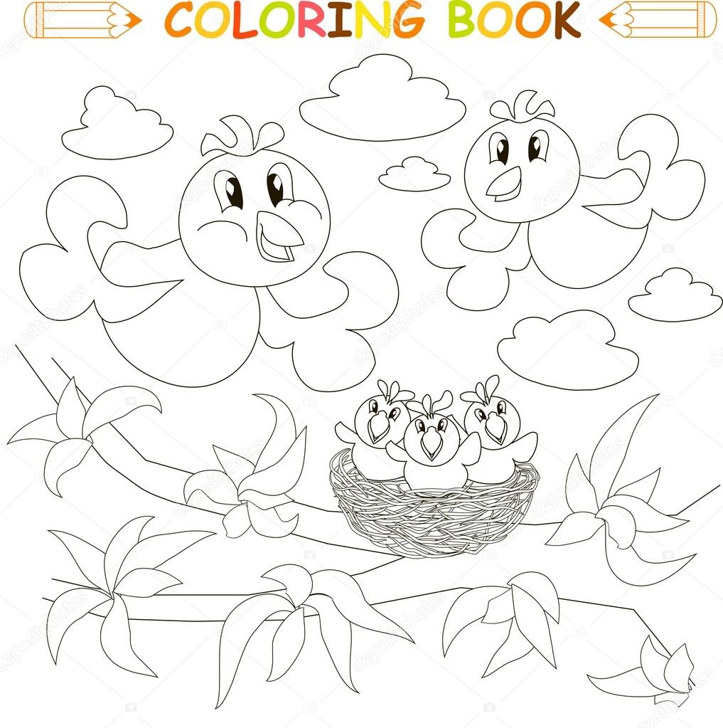 Coloring Book Bird Family Chicks On Nest Vector Illustration