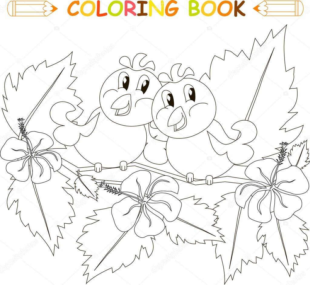 Boyama Kitabı Kuş Hibiscus Dalı çiçekler Ile çift Ve Yapraklar