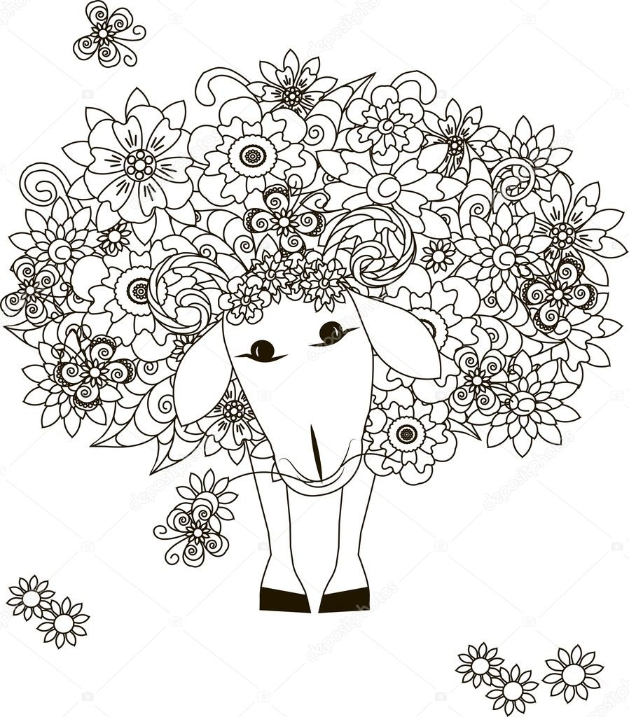 Flowers sheep, coloring page anti-stress vector illustration ...