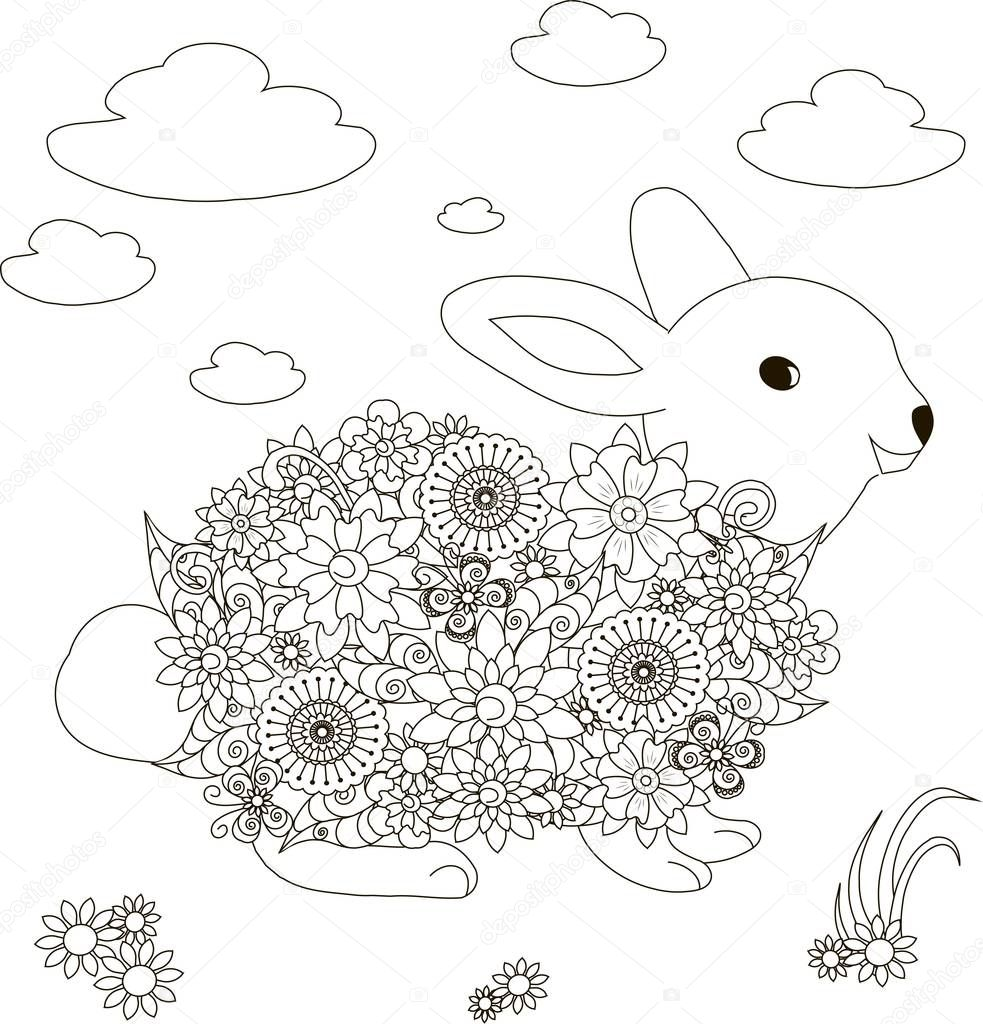 Lapin de fleurs illustration vectorielle anti stress page   colorier – Illustration