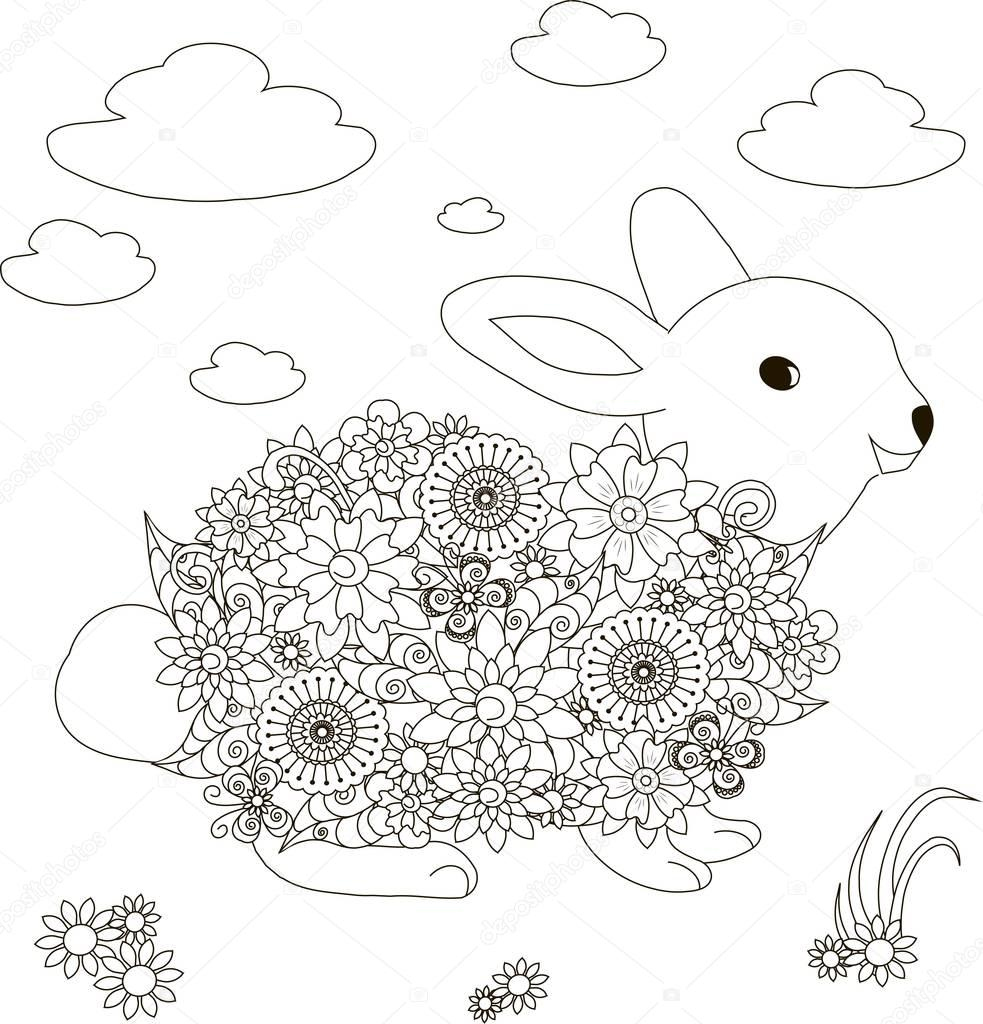 Lapin de fleurs illustration vectorielle anti stress page  colorier – Illustration