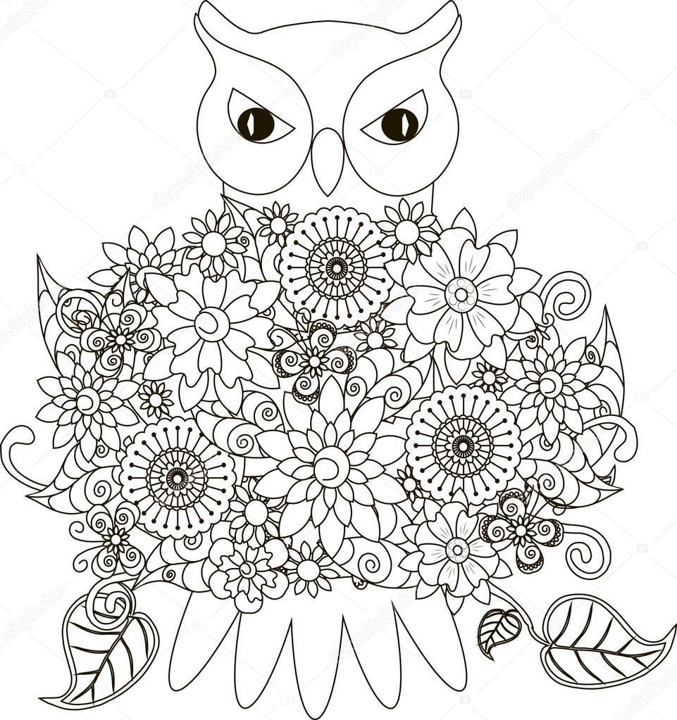 çiçekler Baykuş Sayfa Anti Stres Vektör çizim Boyama Stok Vektör