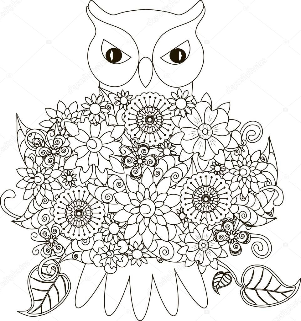 bloemen uil kleurplaten pagina antistress