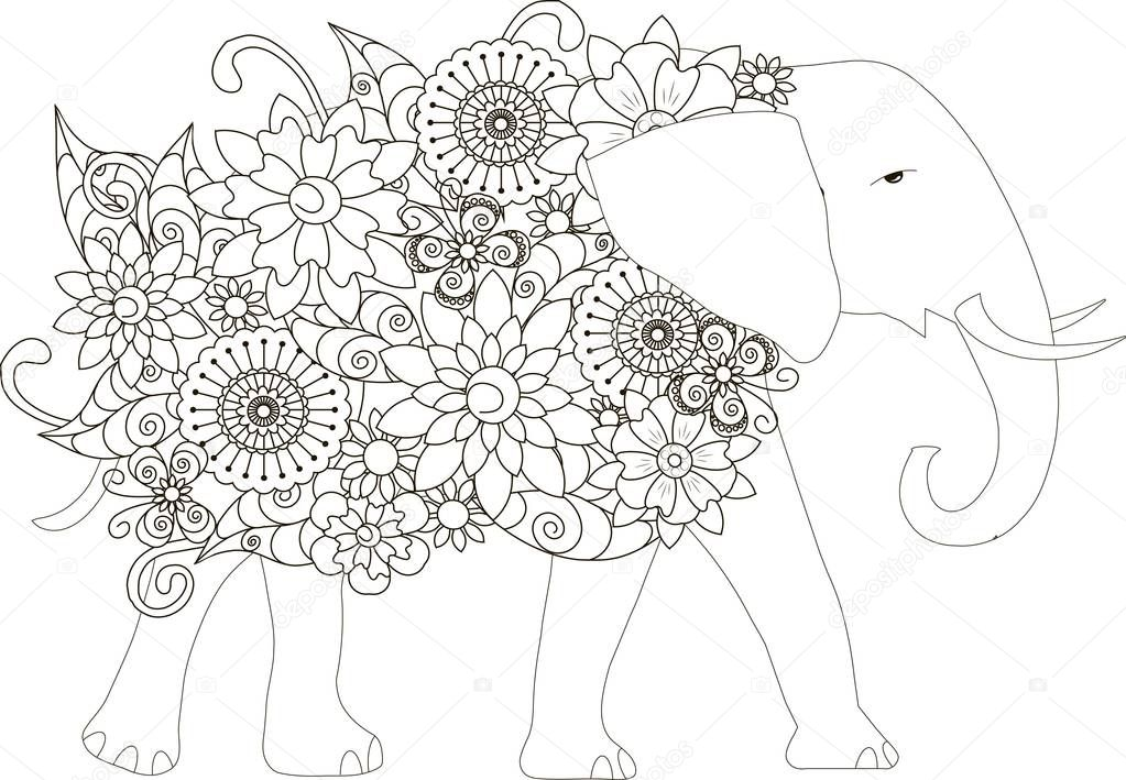 Blumen-Elefant, Färbung Seite Anti-Stress-Vektor-illustration ...