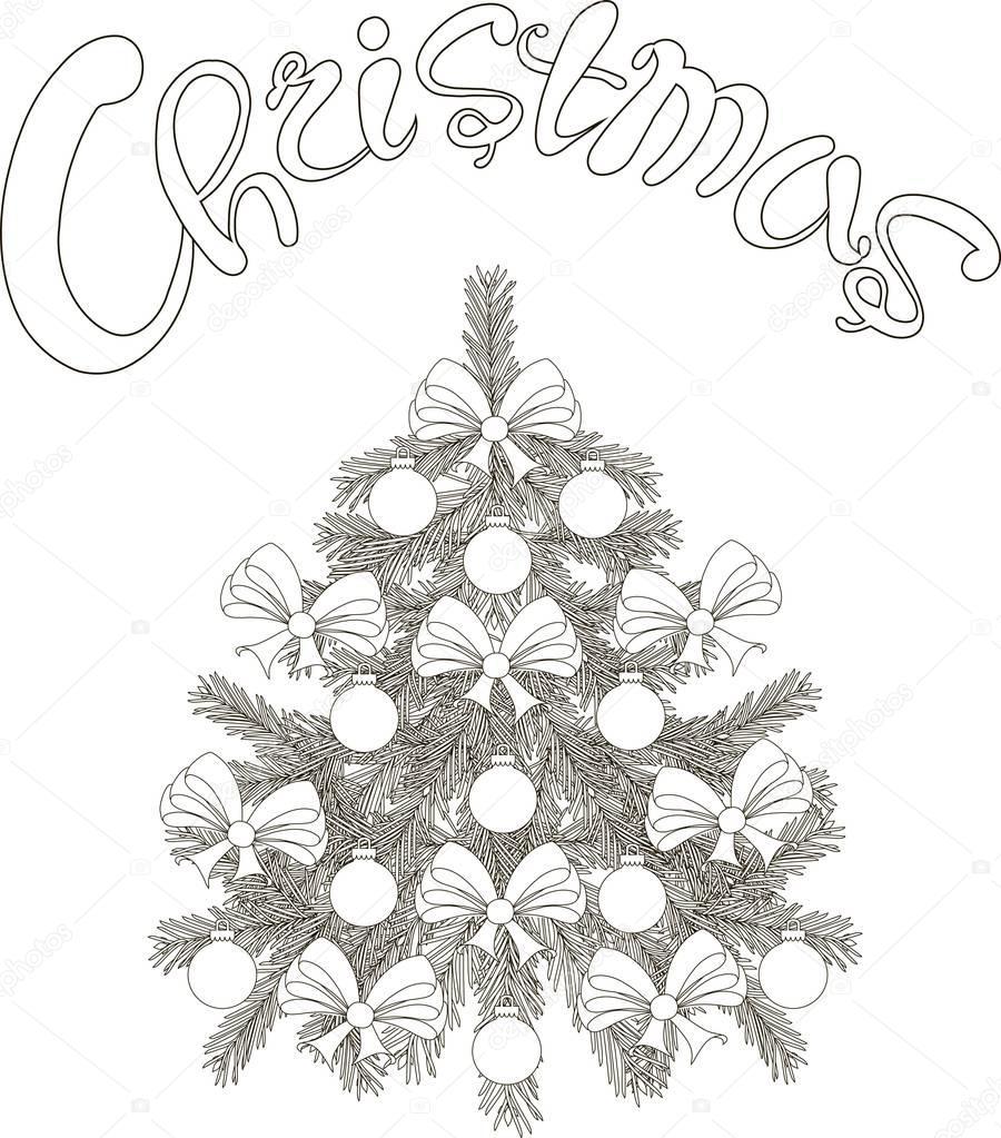 hand gezeichnet schwarz wei skizze weihnachtsbaum und. Black Bedroom Furniture Sets. Home Design Ideas