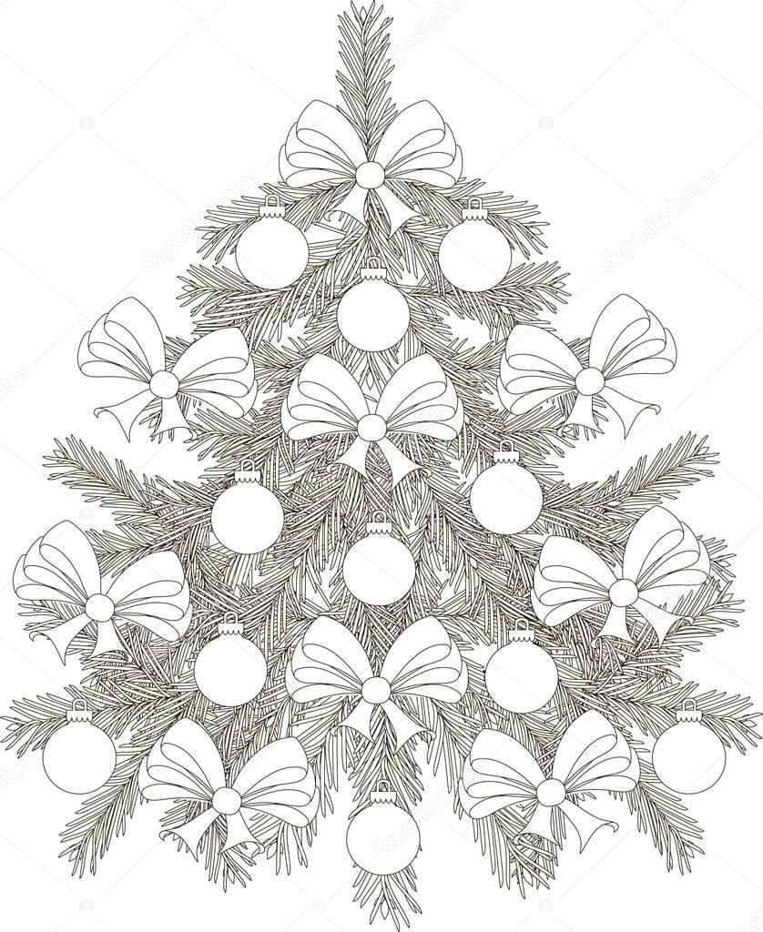 Weihnachtsbaum Schwarz Weiß.Hand Gezeichnet Schwarz Weiß Skizze Weihnachtsbaum Vektor