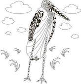 Ručně tažené zentangle Marabu africkými čáp, černé a bílé proti stresu vektorové ilustrace