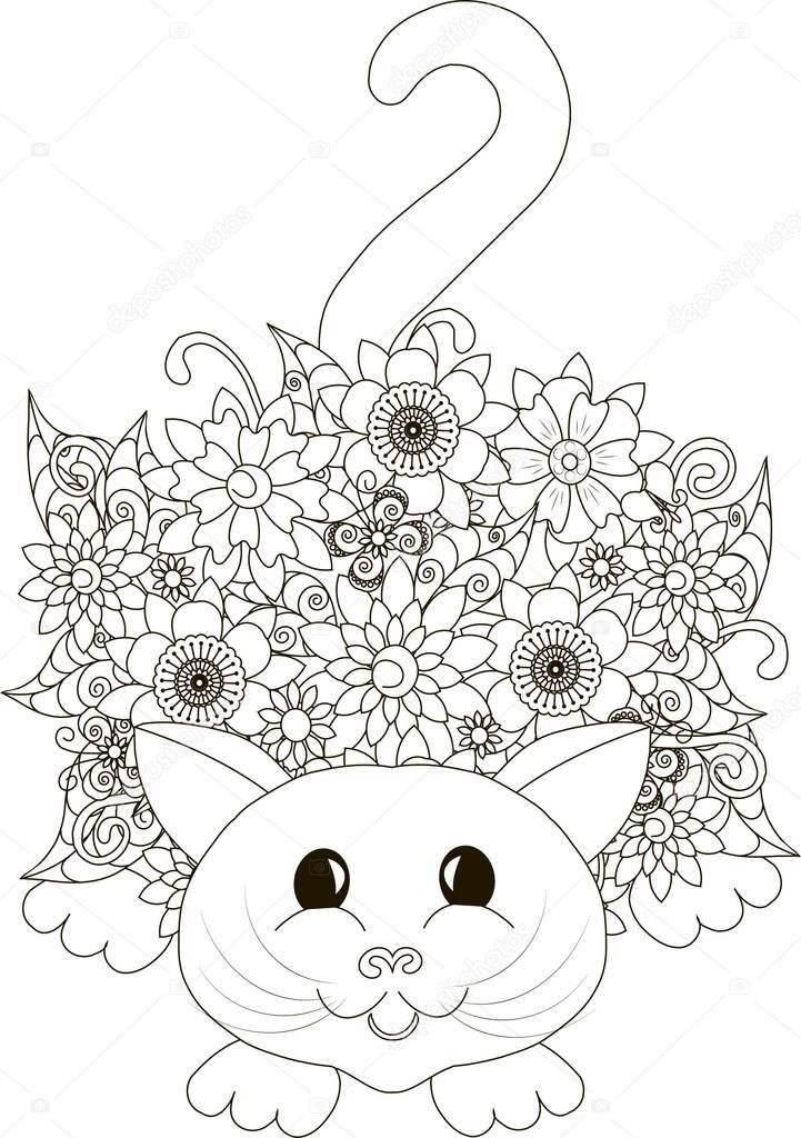 Blumen-Katze, Färbung Seite Anti-Stress-Vektor-illustration ...