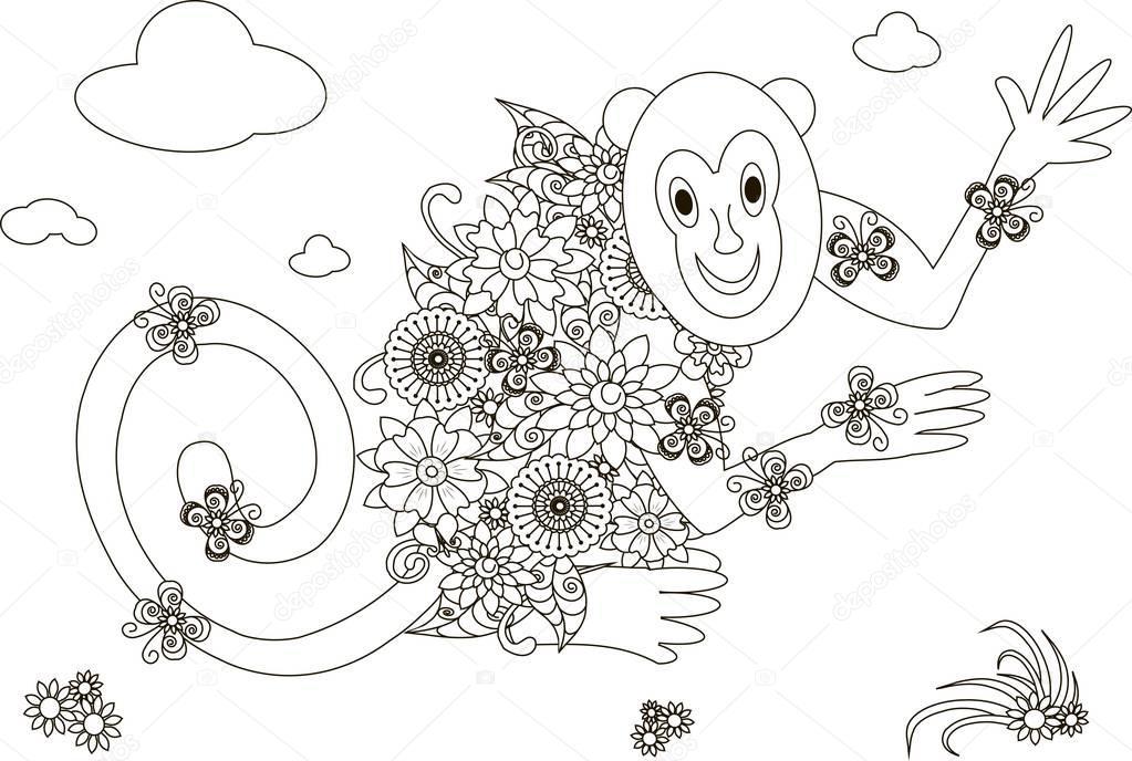 Mono de flores para colorear página anti ilustración de vector de ...
