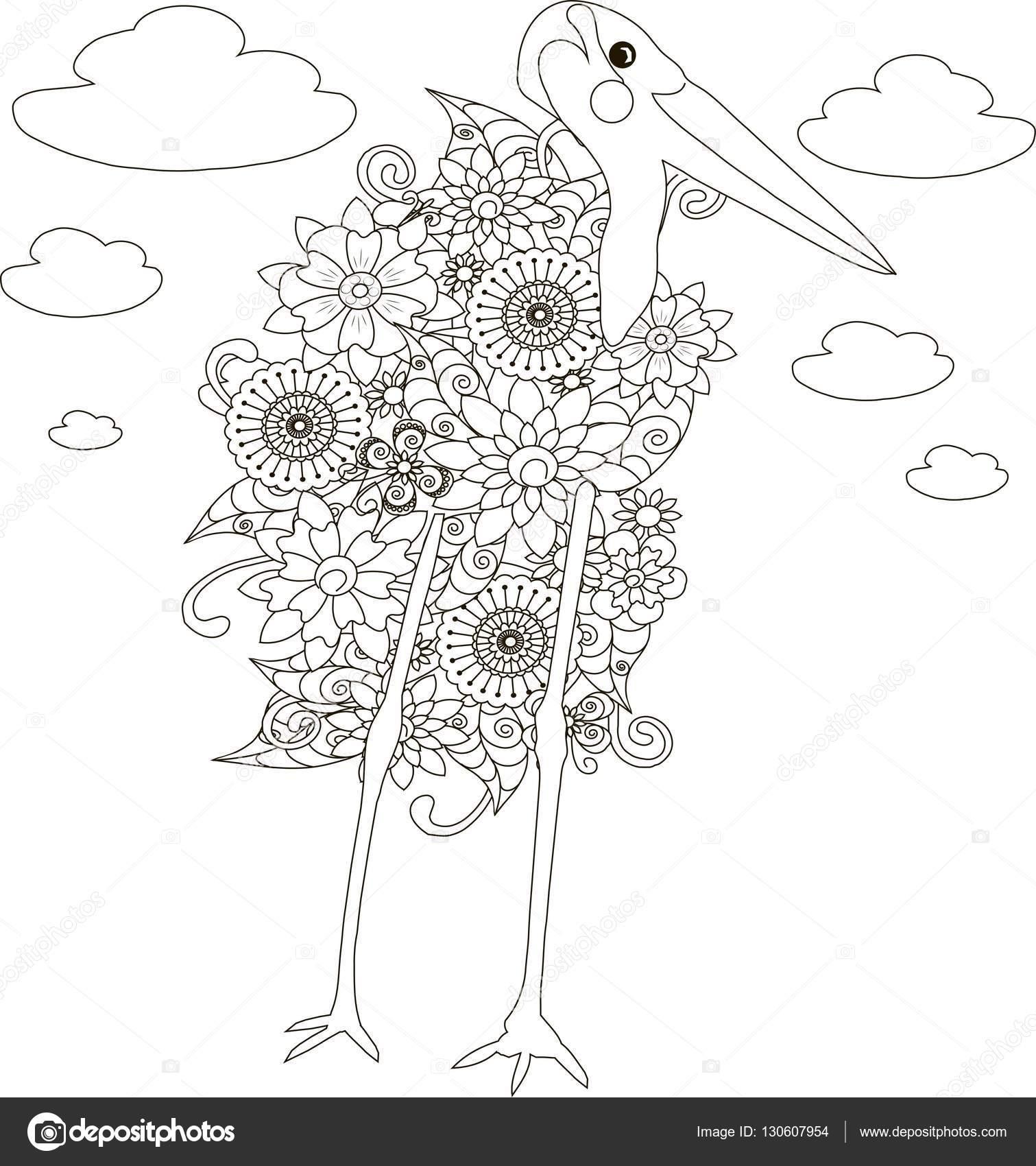 çiçek Marabut Leylek Sayfa Anti Stres Vektör çizim Boyama Stok