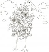 Čáp Marabu květiny, barevné stránky antistresové vektorové ilustrace