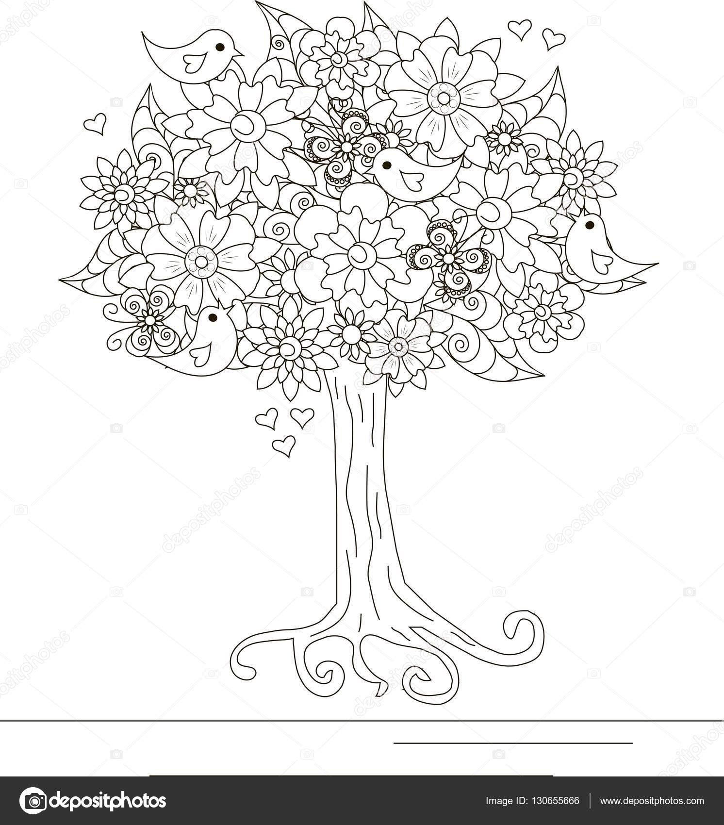 Цветущее дерево с любящей птицами и бабочка раскраска ...