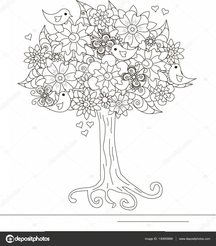 Árbol de flor con amor aves y mariposa para colorear libro, anti ...