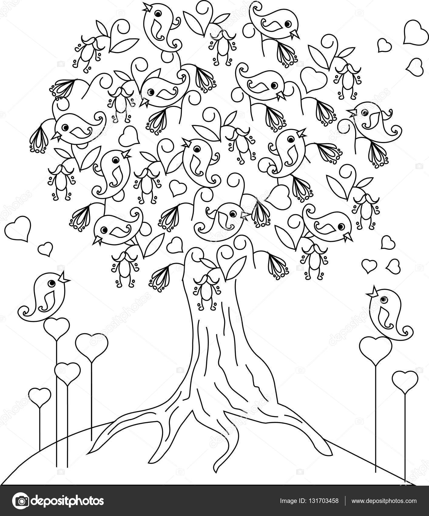 Coloriage Arbre Anti Stress.Oiseau Affectueux Blamer Arbre Hearts Anti Stress Illustration