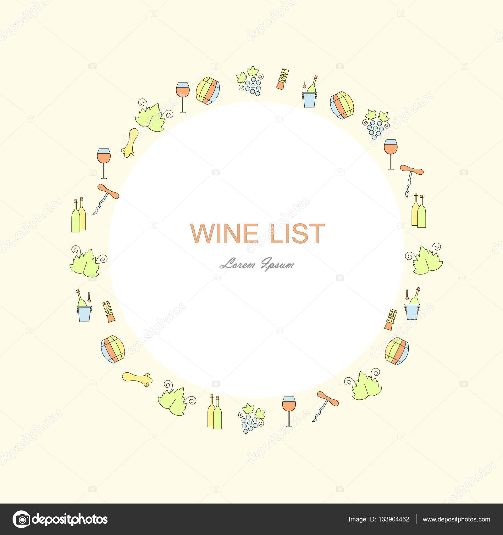 Wine list restaurant menu template line style green blue red wine list restaurant menu template line style green blue red yellow icons pronofoot35fo Gallery