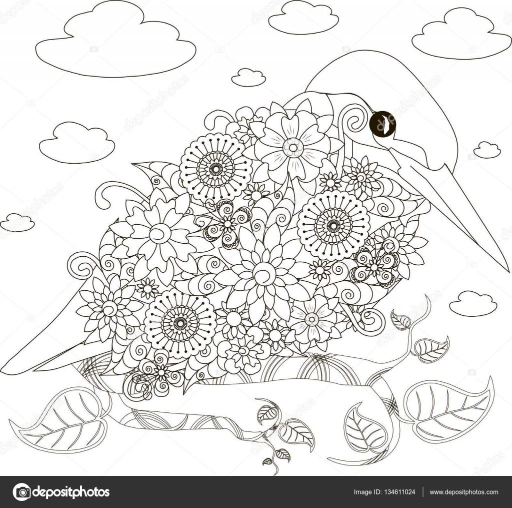 bloemen ijsvogel kleurplaten pagina antistress