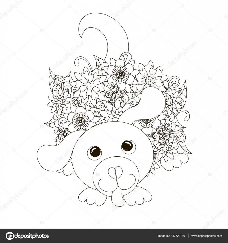 Coloriage Anti Stress Chien.Fleurs Assis Chien Coloriage Page Illustration Vectorielle Stock
