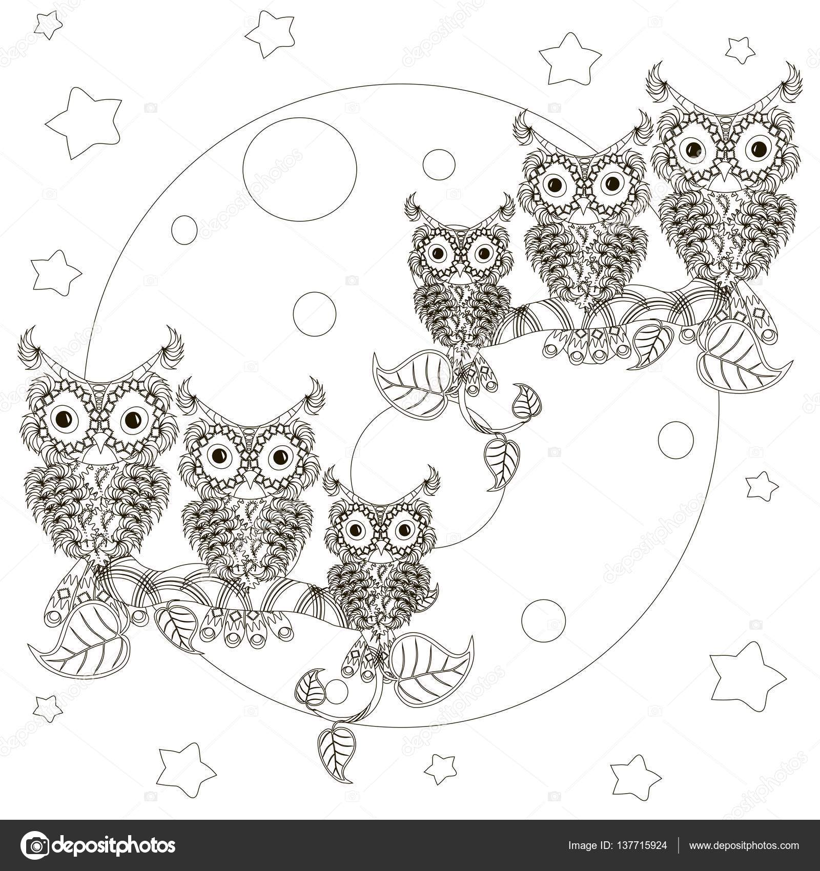 zentangle stylized black and white owls on branches full moon