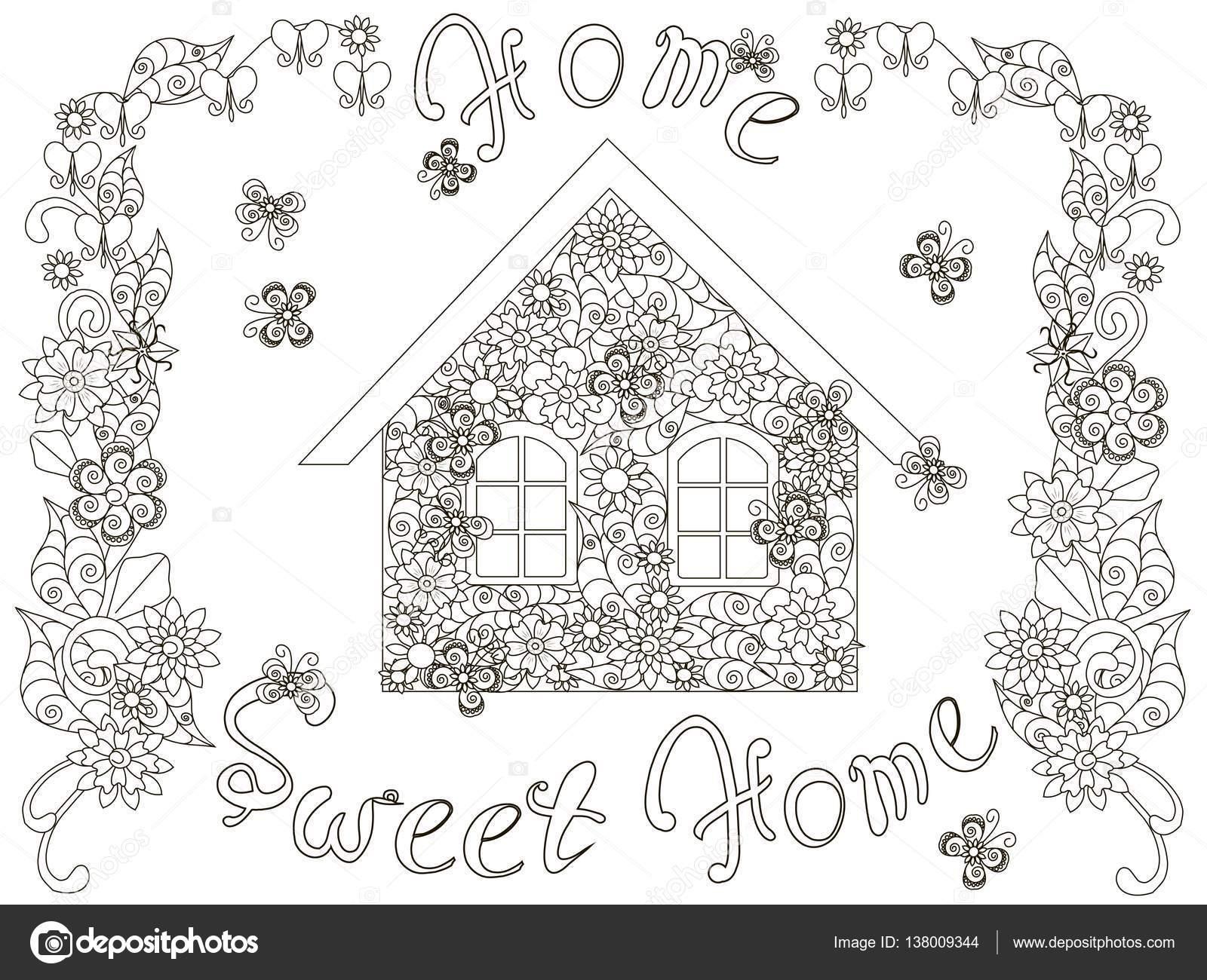 Blumen Haus mit Schriftzug Home süße Heimat und floralen Rahmen für ...