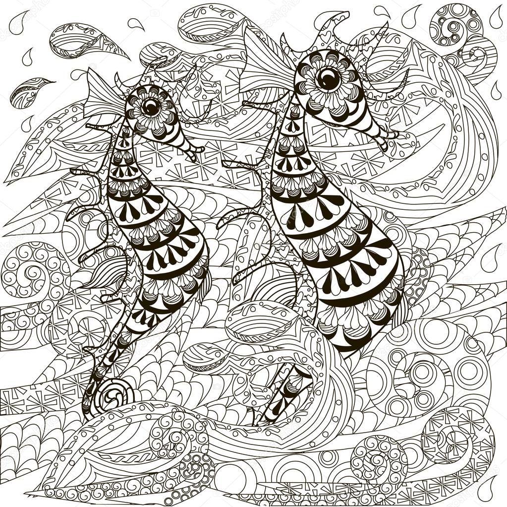 Cavallucci marini di doodle disegnato a mano sulle onde - Lederhosen pagina da colorare ...