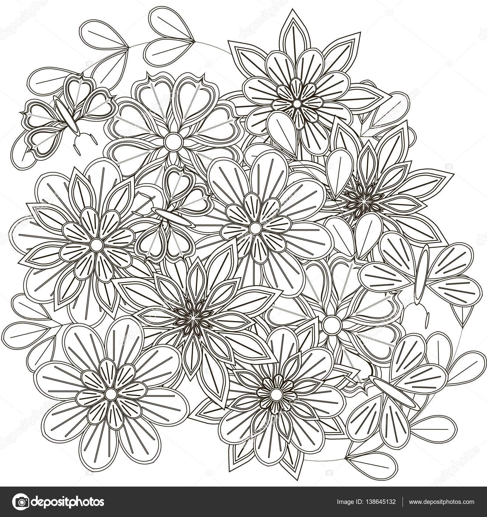 Blanco y negro dibujo de ramo, estilizadas flores y mariposas para ...