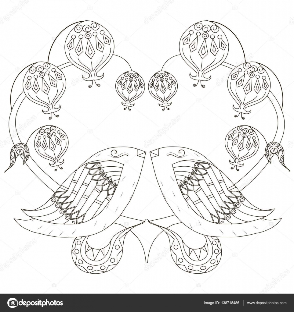 Schwarz / weiß-Skizze der liebende Vögel, stilisierten Herzen anti ...