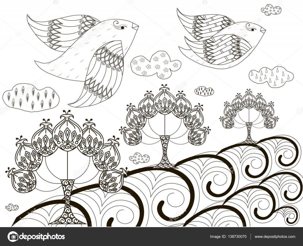 Boceto blanco y negro de fondo: vuelo de pájaros, árboles ...
