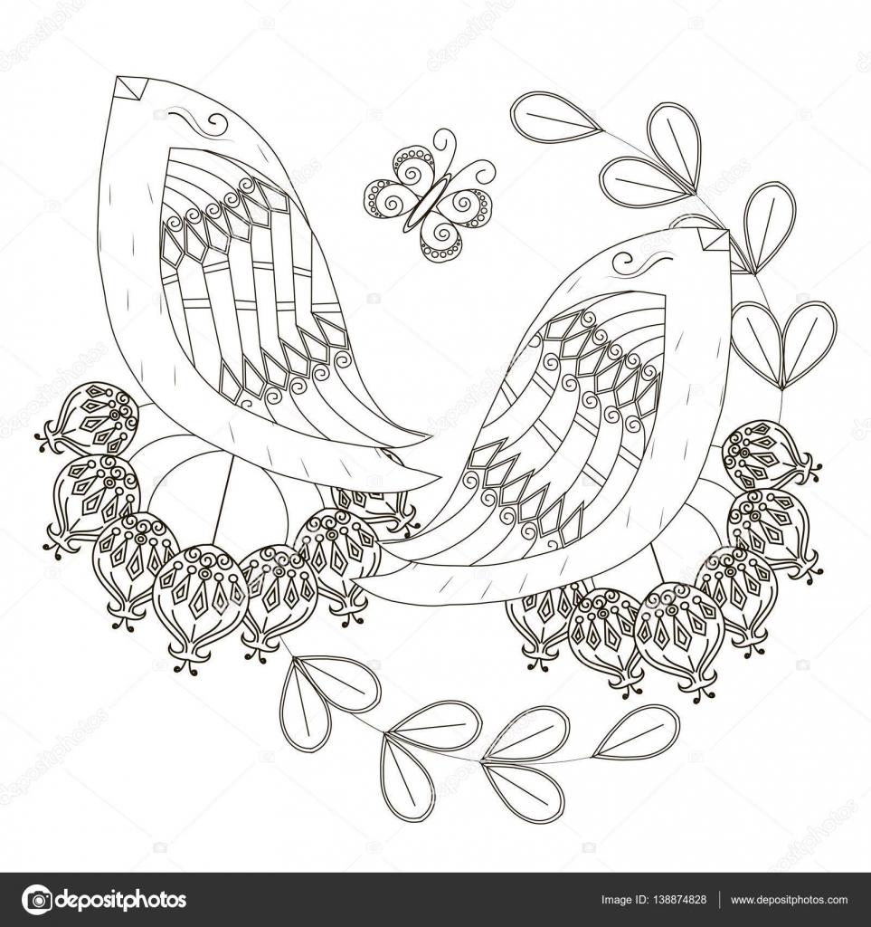Blanco y negro dibujo de frutas, estilizadas de aves ...