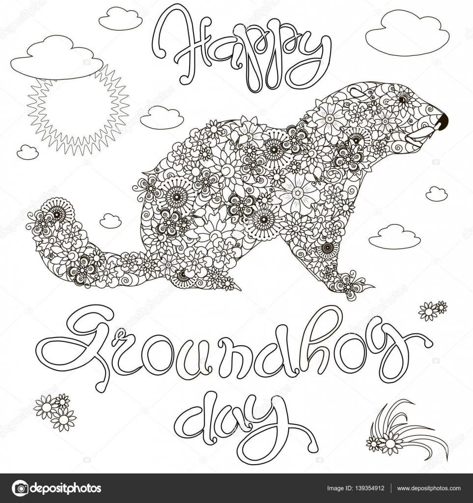 Boceto de banner feliz día de la marmota, marmota floral, anti ...