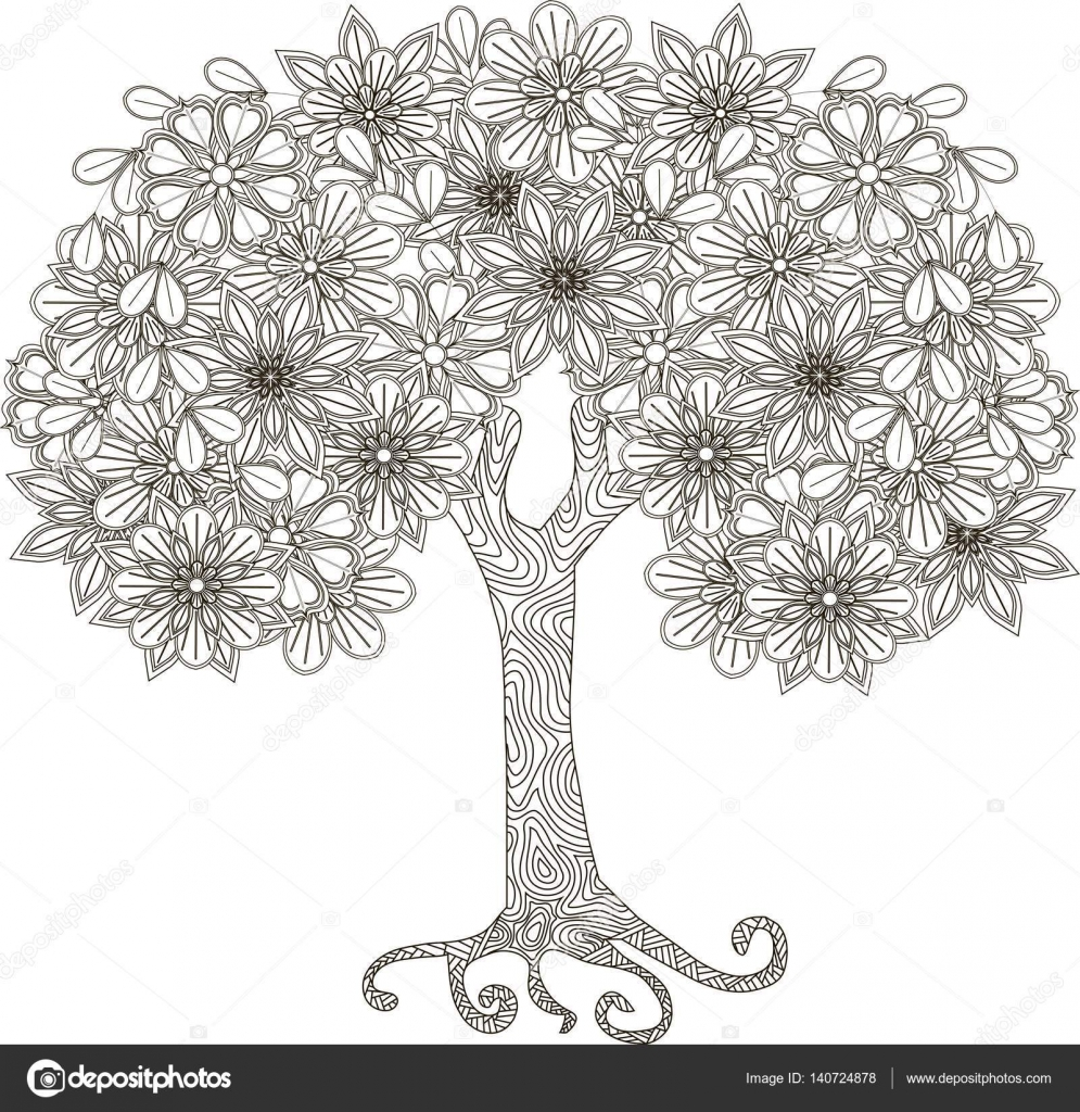 Coloriage Arbre Anti Stress.Arbre Fleuri Pour Coloriages Illustration Vectorielle Anti Stress