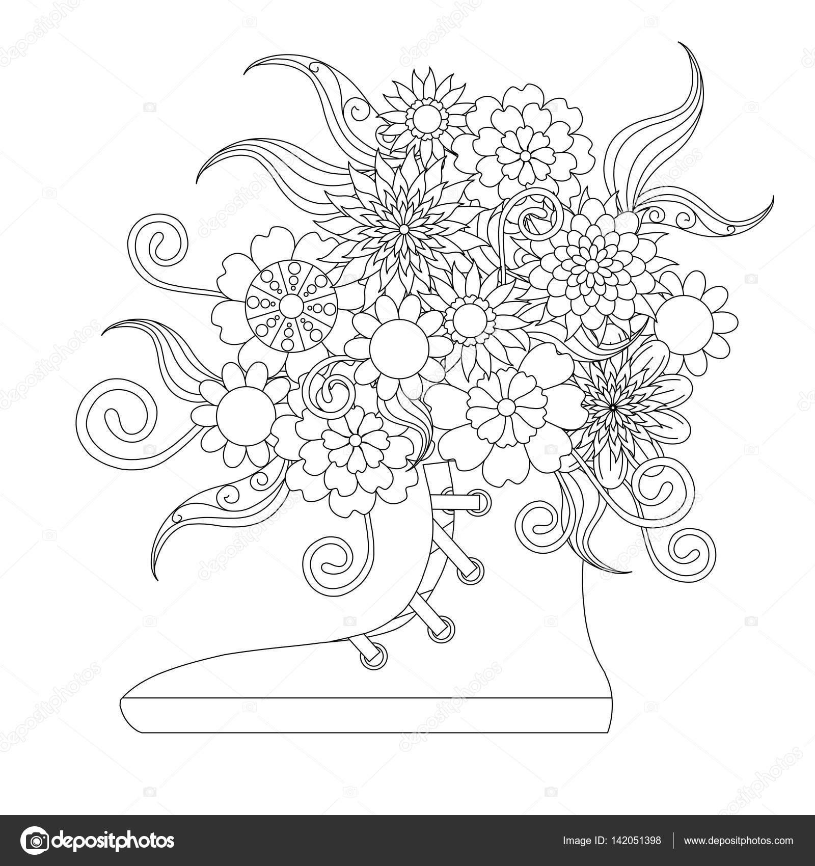 Zapatillas Con Ramo De Flores Para Colorear Página Del Libro Anti