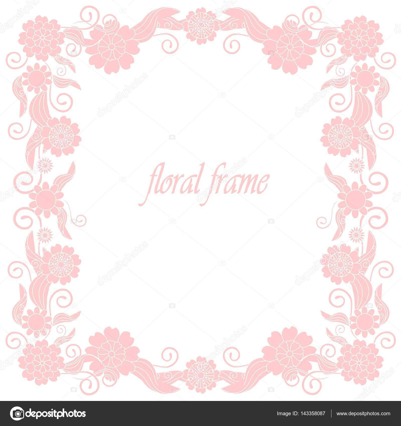 Floral handgezeichneten Quadrat rosa Rahmen Lager Vektor ...