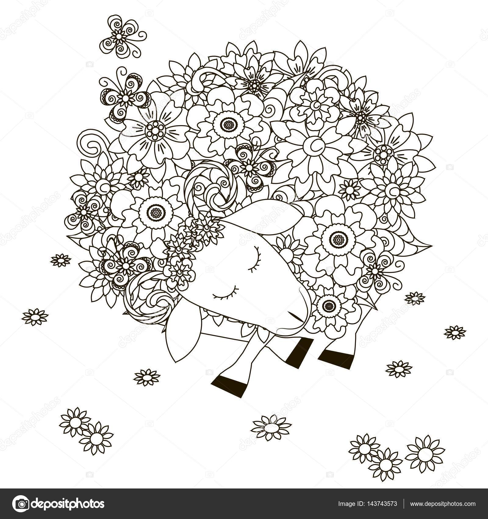 Flowers sheep, coloring page anti-stress vector illustration — Stock ...