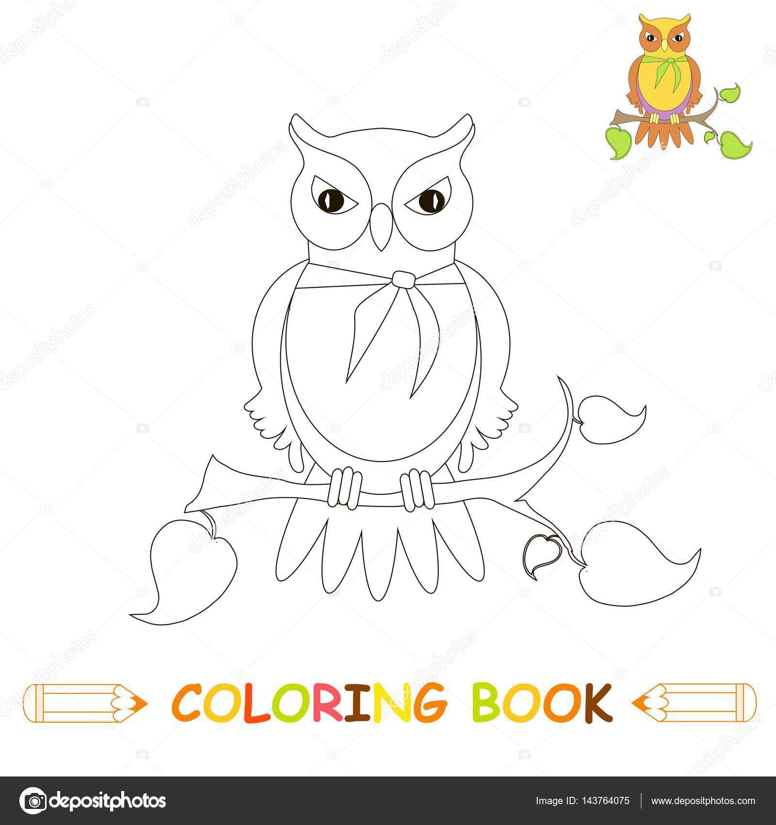 Sayfa Boyama çocuk Illüstrasyon şirin Baykuş Boyama Kitabı çocuklar