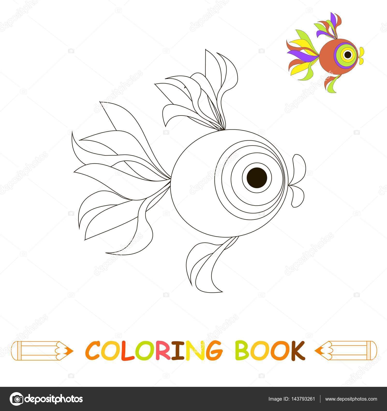 Kinder Malvorlagen Vektor Illustration Niedlichen Fische In