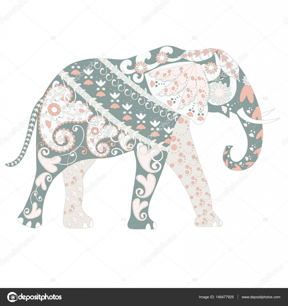 Hand drawn ornamental colorful cartoons elephant for coloring page ...