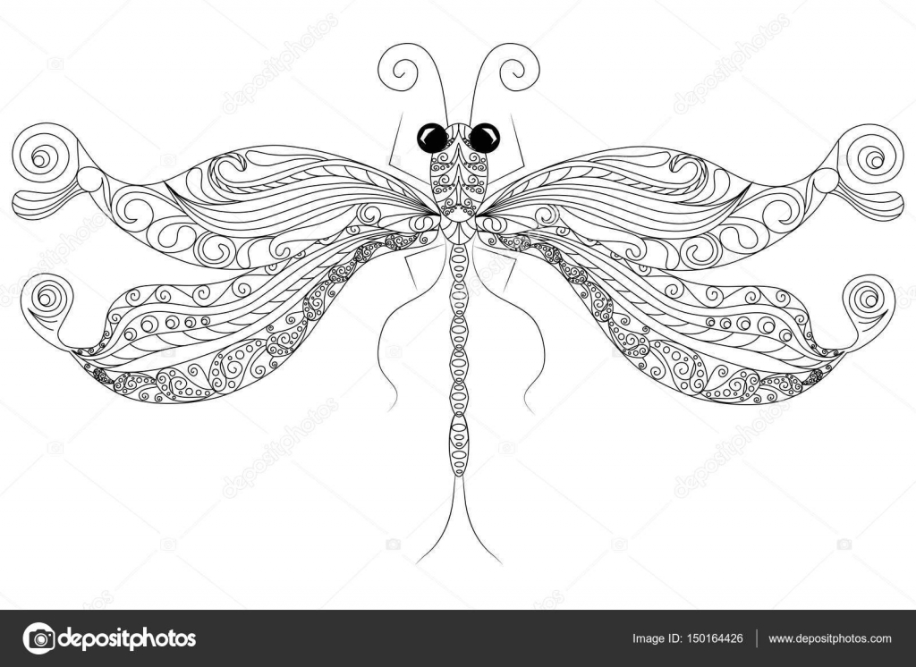 Yellow Winged Darter Dragonfly coloring page | Free Printable ... | 1167x1600