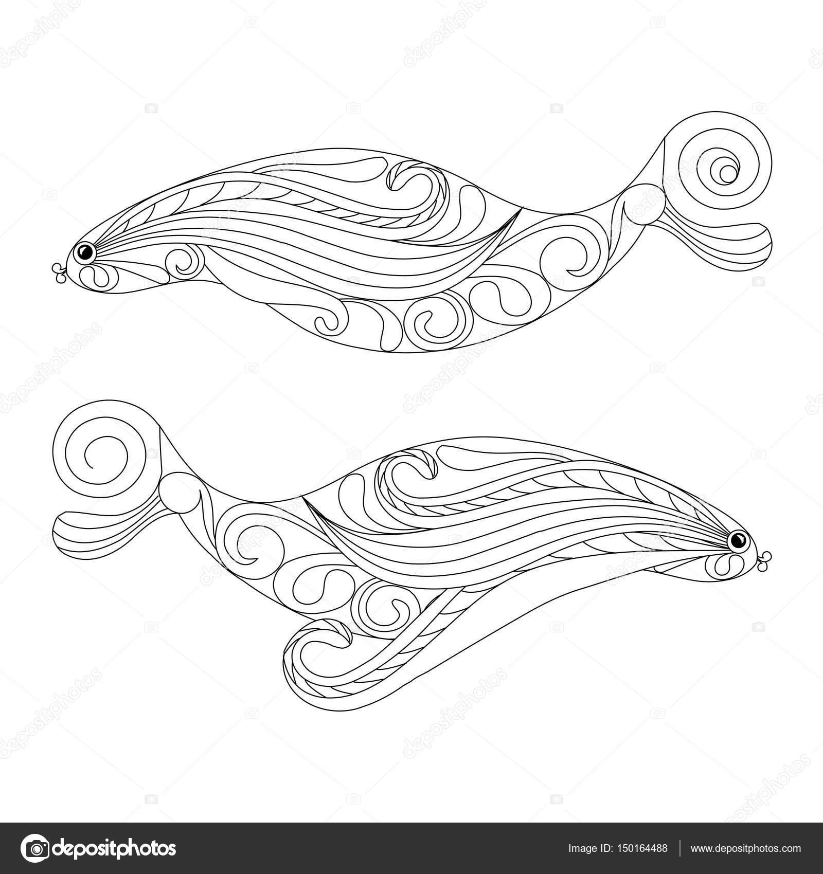 Doodle Fische Färbung Seite Anti-Stress-Vektor-illustration ...
