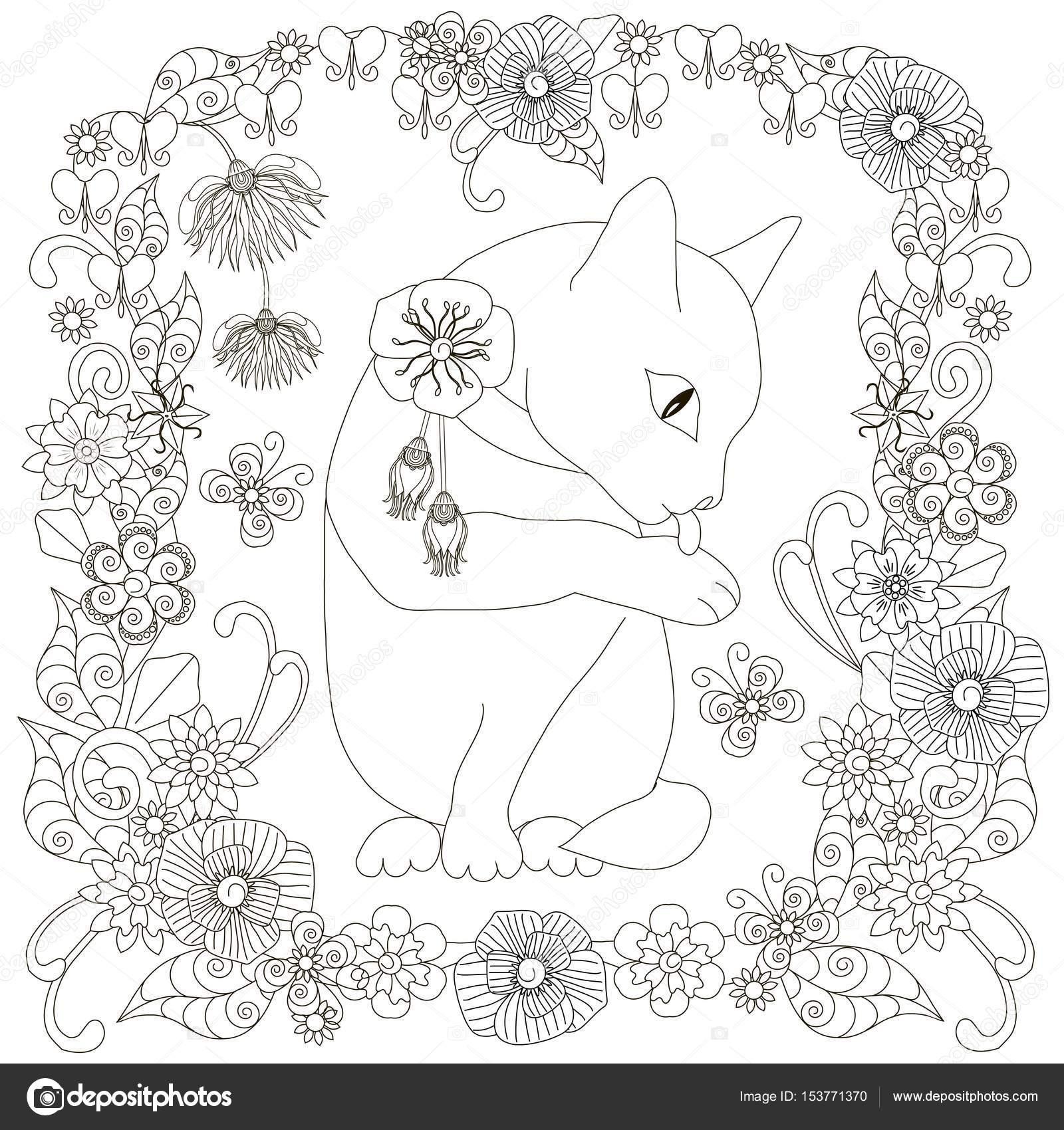 Monochrome Doodle Hand gezeichnete Katze wäscht in Blumen Rahmen ...