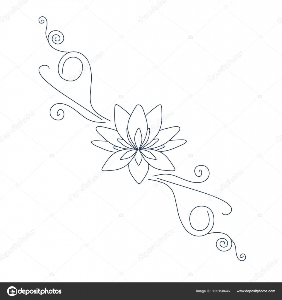 Fleur De Lotus Pour Tatoo Logo Design Vector Stock Par